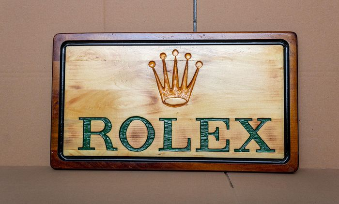 Rolex - Large unique handmade sculpting logo made from wood - Unisex - 1990-1999