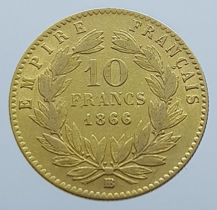 10 Francs 1866-BB Napoleon III - Or