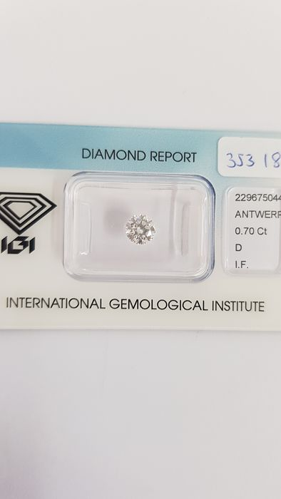 1 pcs Diamond - 0.70 ct - Brilliant - D (colourless) - IF (flawless)