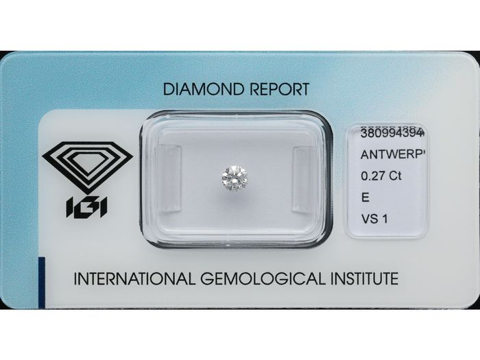 1 pcs Diamond - 0.27 ct - Briliáns - E - VS1 ***No Reserve***