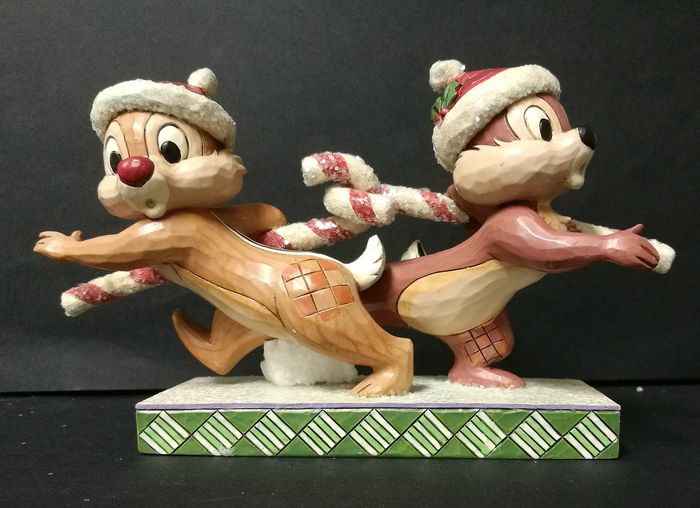 "Disney Traditions - Chip and Dale - Hand painted figurine ""Candy Cane Caper Christmas"" - (2014)"