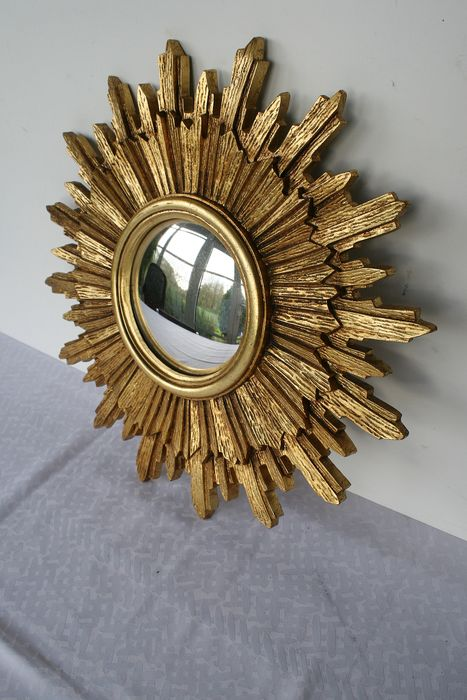 Large old gilded solar mirror - resine