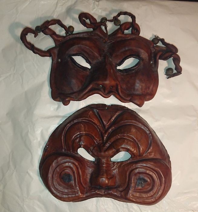 Venetian leather masks (2) - Leather - First half 19th century