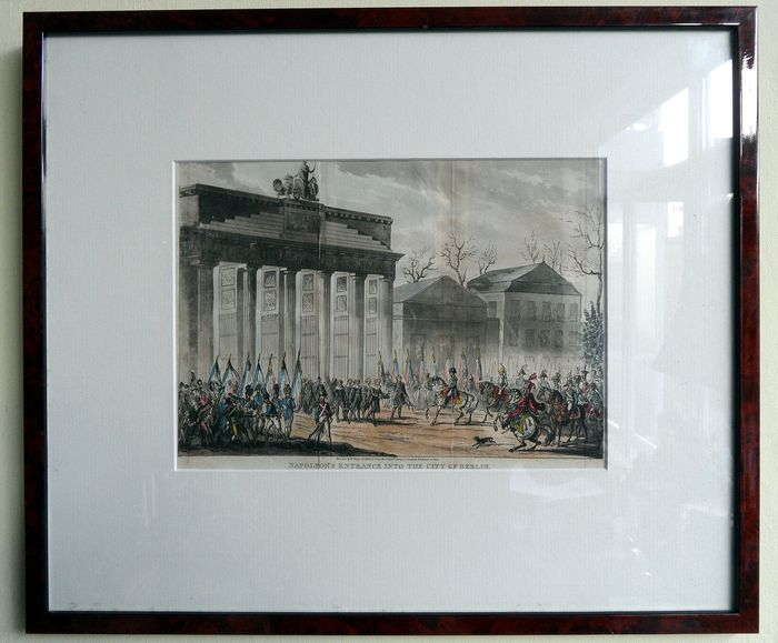 Napoleon in Berlin at the Brandenburg Gate - colored aquatint in frame - 19th century