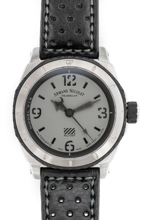 Armand Nicolet - Automatic S05-3 Diver Military Hand Made Leather Strap Swiss Made  - A713PGN-GN-P160NG4 - Heren - Brand New