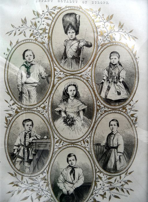 INFANT ROYALTY OF EUROPE - engraving in frame - 19th century