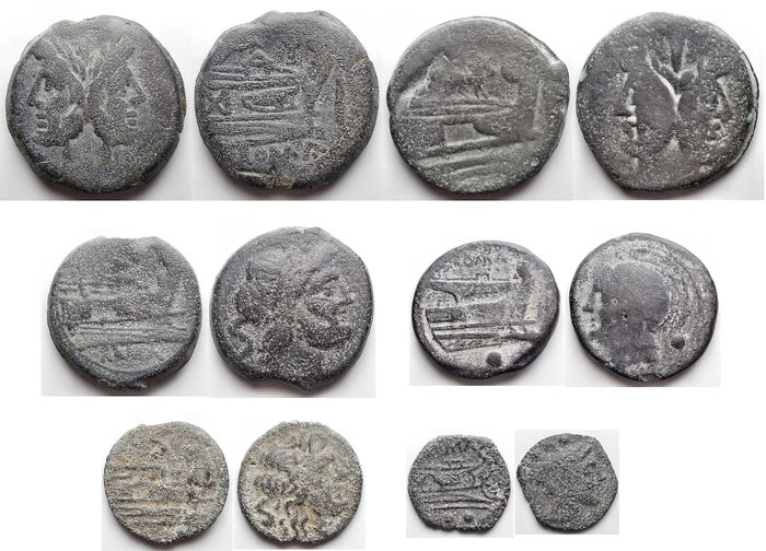 République romaine - Lot comprising 6 AE coins, various periods, incl.: Anonymous (217-215 BC), Oncia (Semilibral) / Anonymous (211-208 BC), Sextans
