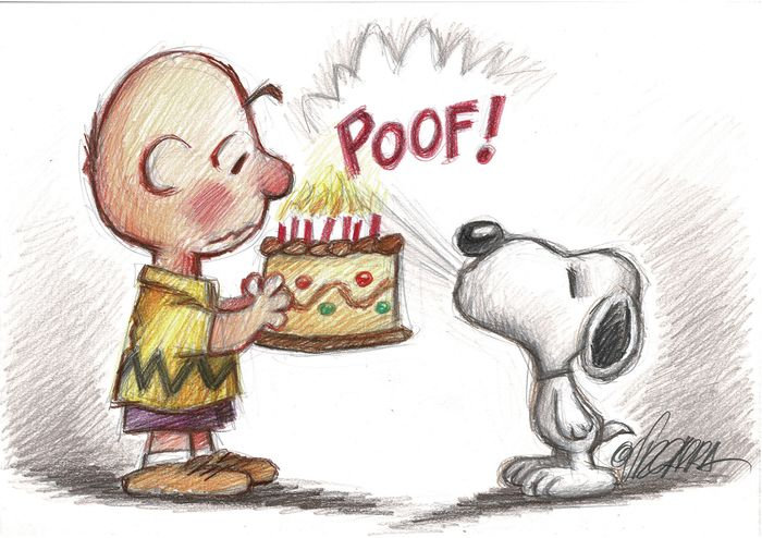 Charlie Brown Snoopy Happy Birthday Original Drawing Catawiki