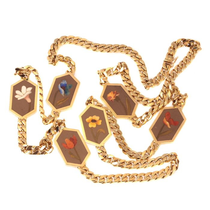 18 kt. Yellow gold - Necklace, with Pietra Dura stones decoration - Vintage - Origin: Italy - Style: Eighties