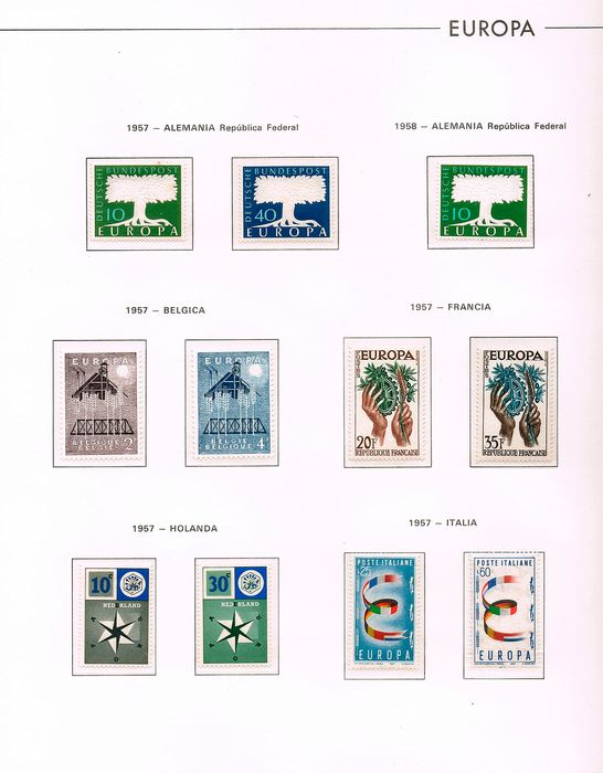 Europa 1957/1965 - Full Years - Europe themed mounted on Edifil pages - MNH