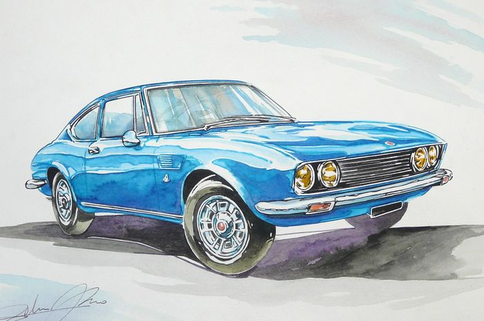 Original drawing by Federico De Muro - FIAT DINO coupe' Ferrari 1972 - 2019