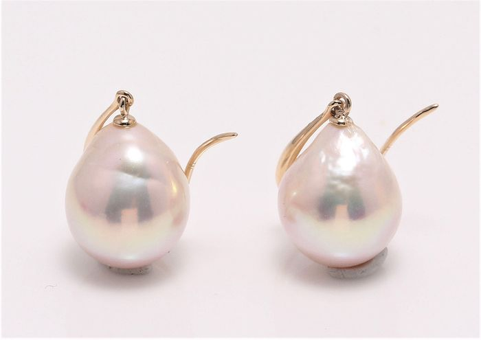 NO RESERVE PRICE - 14 kt. Yellow Gold - 10x11mm Special Cultured Pearls - Earrings