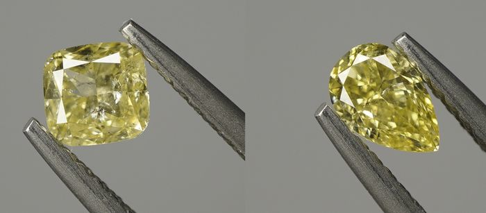 2 pcs Diamants - 0.78 ct - Coussin & Poire - fancy yellow - SI2-I1 - No reserve