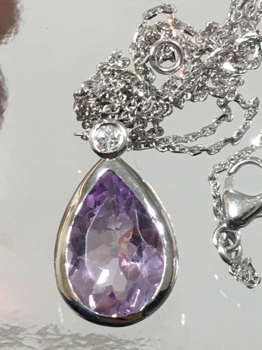 18 kt. White gold - Necklace with pendant Amethyst - Diamond