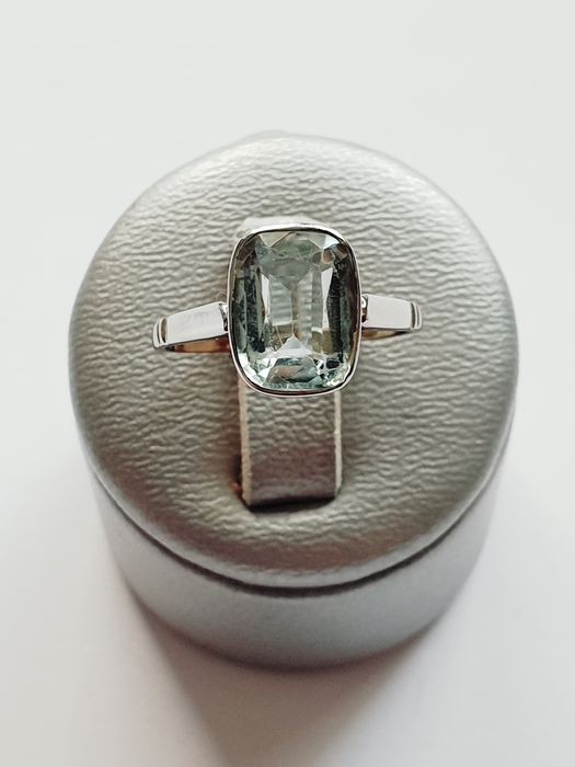 18 carats Or blanc - Bague Aquamarine