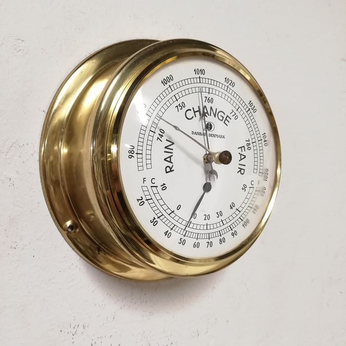 Weather Station with Barometer and Thermometer - Brass - 1950-1974