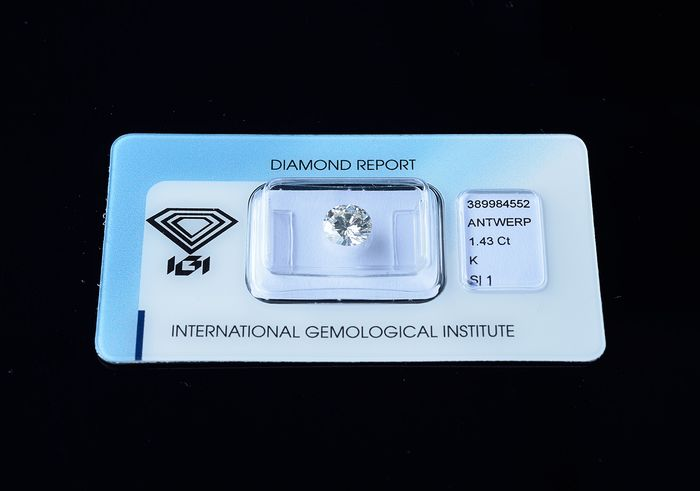 1 pcs Diamond - 1.43 ct - Brilliant, Round - K - SI1