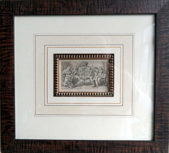 Royal Alliance Coat of Arms; THE BOURBON - LESZCYNSKA - engraving in frame - 18th century