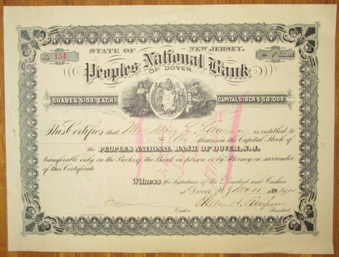 USA - Peoples National Bank of Dover - Share Certificate 1901 - with decorative vignette