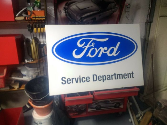 "Segnaletica - Ford - Rare Genuine Large Ford Dealership "" Service Department "" Dealer Advertising Sign - 1980-1990"