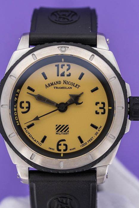 """Armand Nicolet - Automatic S05-3 Diver Military Rubber Strap Swiss Made  - A713PGN-KN-G9610 """"NO RESERVE PRICE"""" - Herren - Brand New"""