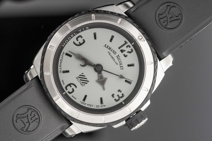 Armand Nicolet - Automatic S05-3 Diver Grey Military Rubber Strap Swiss Made  - A713PGN-GN-G9610 - Homem - Brand New