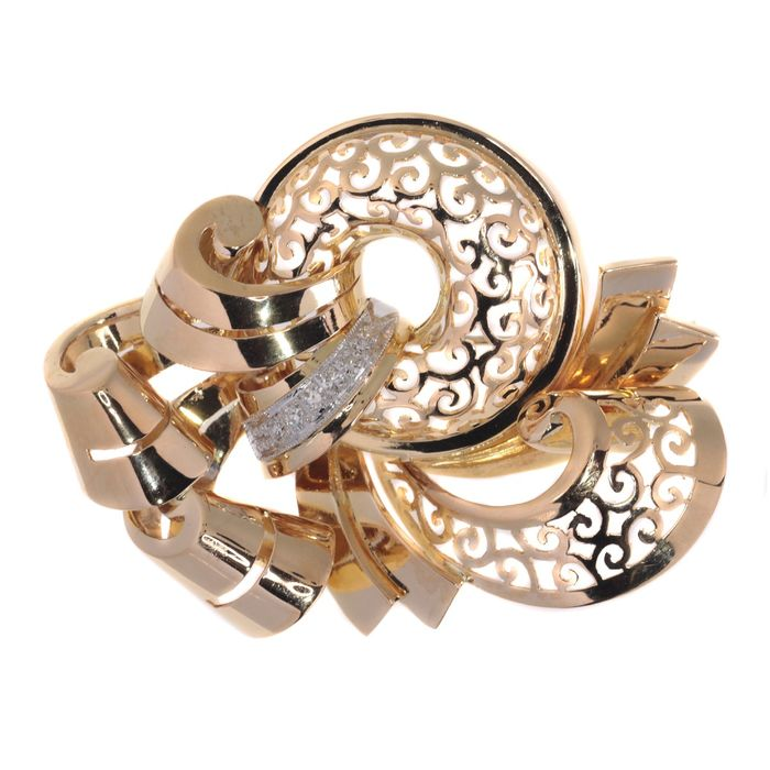 18 kt. Yellow gold - Brooch, Typically Vintage, Retro Style - Anno 1945 - 0.18 ct Diamond