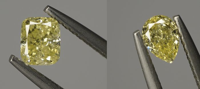 2 pcs Diamants - 0.72 ct - Coussin & Poire - fancy yellow - SI2-I1 - No reserve