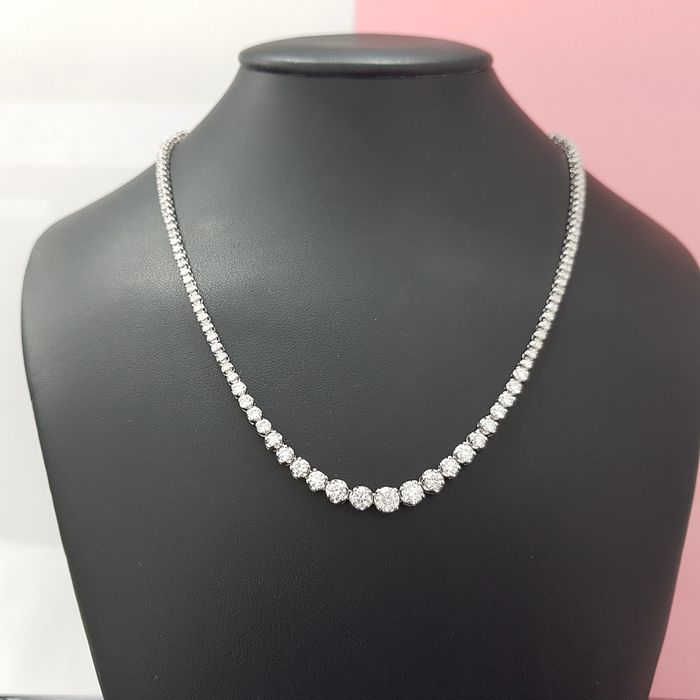 14 carats Or blanc - Collier - 7.25 ct Diamant