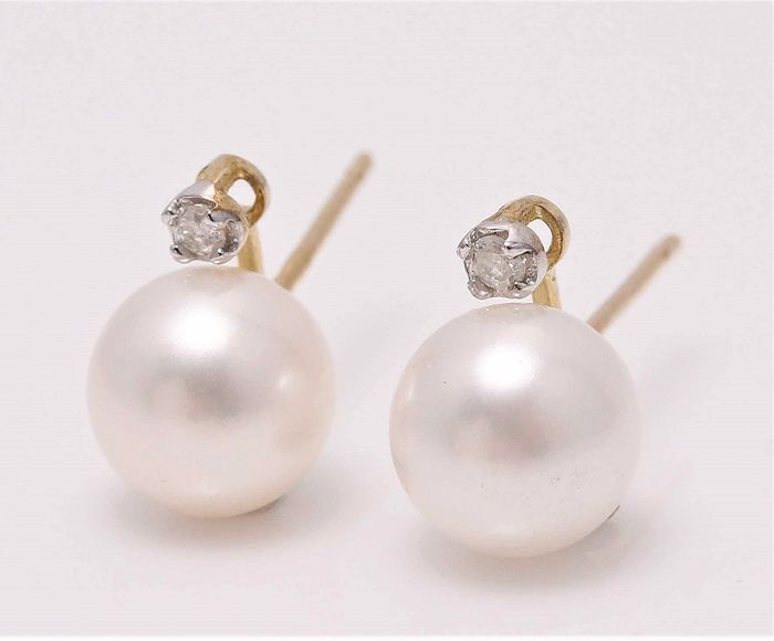 NO RESERVE PRICE - 925 Silver - 7x8mm White Cultured Pearls - Earrings - 0.02 ct