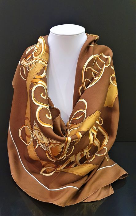 HERMES brown-beige silk Scarf