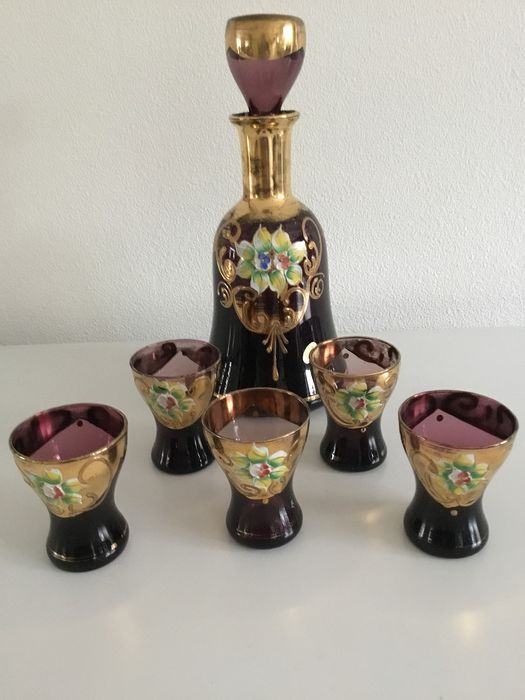 Murano Carafe with 5 glasses - Crystal with gold leaf