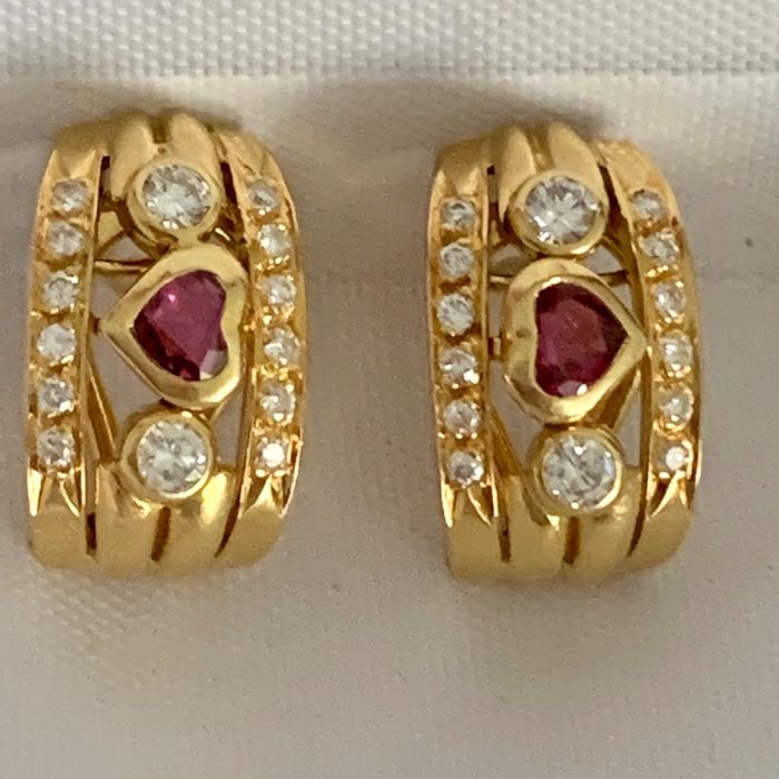 18 kt. Yellow gold - Earrings Diamonds 0.78 ct total weight - Ruby