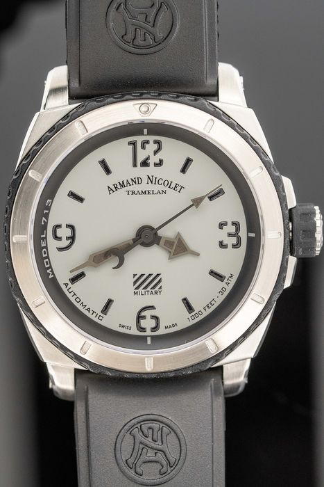 Armand Nicolet - Automatic S05-3 Diver Grey Military Rubber Strap Swiss Made  - A713PGN-GN-G9610 - Homme - Brand New