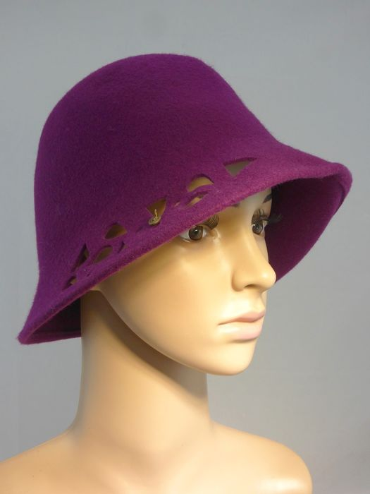 Borsalino - Florence violet drill wool cloche Hat