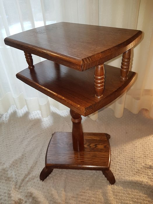 Oak telephone table, side table with rotating top - Wood, Oak