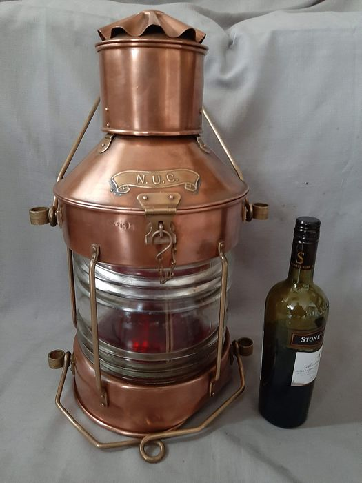 Large ship lamp with original oil lamp - Brass, Copper - First half 20th century