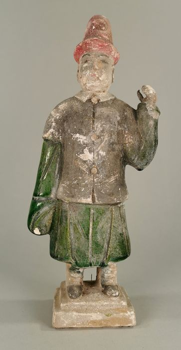 Ancient Chinese Ming Dynasty Glazed Terracotta Attendant Statue