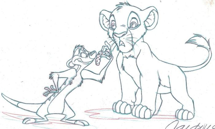 The Lion King - Disney Studios Original Production Drawing - Simba & Timon - Viscous, But Tasty! - Cardona - Original Art
