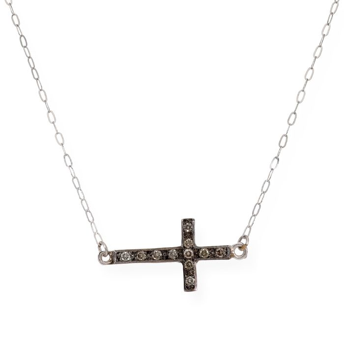 18 kt. White gold - Necklace with pendant - 0.15 ct Diamond