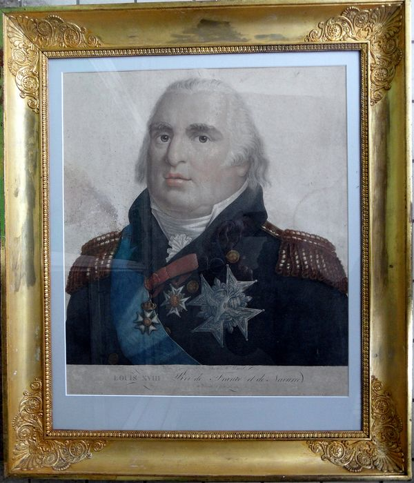 LOUIS XVIII 1755 - 1824 - engraving / color printing in frame - Early 19th century