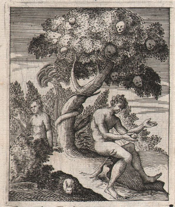 Dutch Engraver - Dance of Death -  Adam and Eve with the tree of knowledge