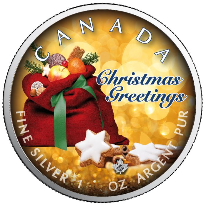 Canada - 5 Dollars 2019 - Maple Leaf - Christmas Greetings - 1 oz - Silver