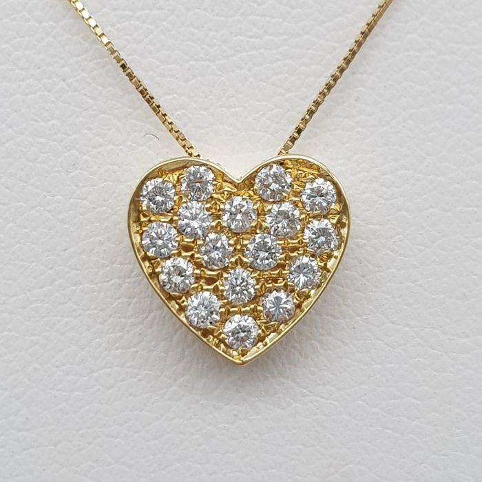 18 kt. Yellow gold - Necklace with pendant - 0.32 ct Diamond