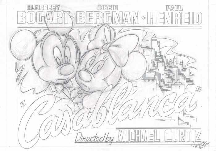 Mickey & Minnie Mouse in Casablanca - Original Preliminary Drawing - Jaume Esteve - Potlood kunst