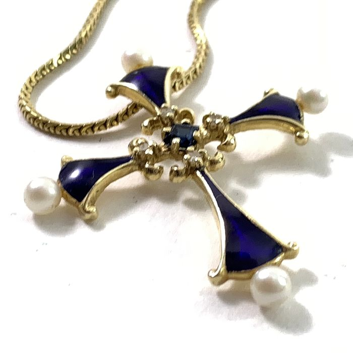 Franklin Mint, House of Faberge  - Fabergé - Sapphire Midnight Cross - 14 Carat Gold, 4 Diamonds, 1 Saphire, 4 Pearls, 18 carat gold necklace