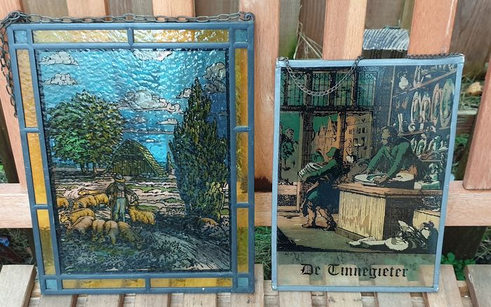 Window, with the Tinnegieter and the Herder (2) - Glass (stained glass)