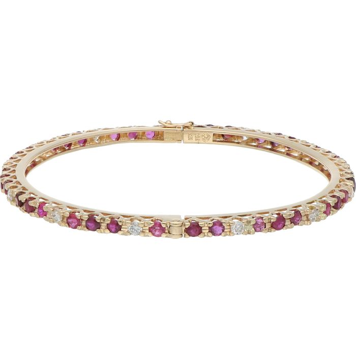 18 kt. Gold - Bracelet Ruby - Diamond