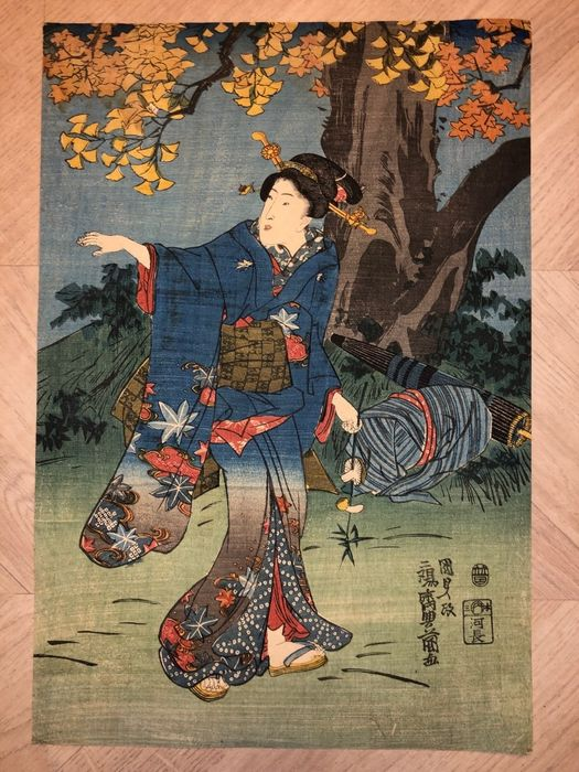 Origineel houtblok print - Utagawa Kunisada (1786-1865) - Gathering mushrooms in Mid-Autumn - 1844