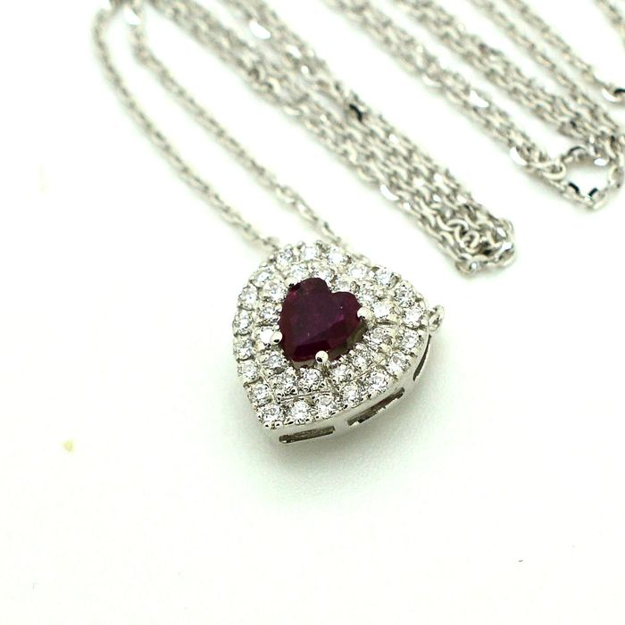 18 kt. White gold - Necklace with pendant - 0.25 ct Ruby - Diamond